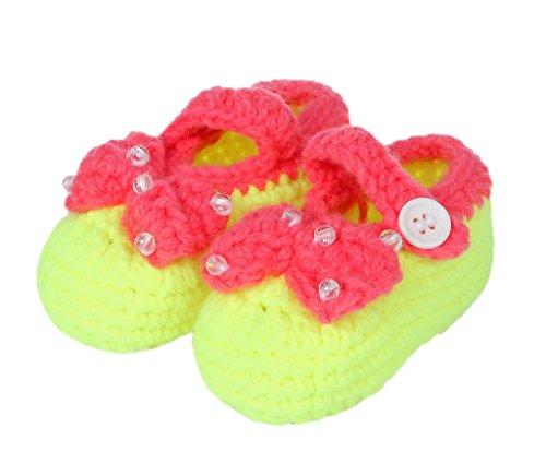 Bigood Chausson Bébé Chaussure Nœud de Papillon Perles Age 3-5 Mois