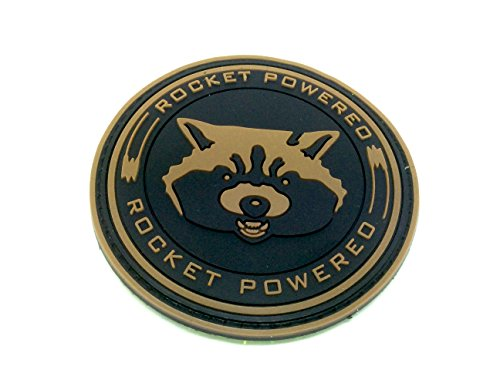 Rocket Powered Guardians Of The Galaxy Cosplay PVC Klett Emblem Abzeichen Moral Patch (Braun)