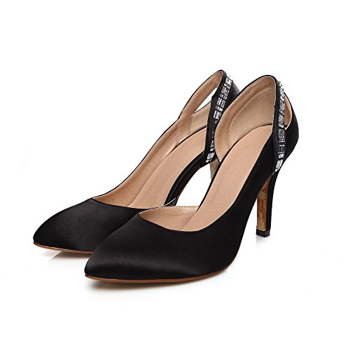 AllhqFashion Femme Tire Satin Pointu à Talon Haut Mosaïque Chaussures Légeres Noir