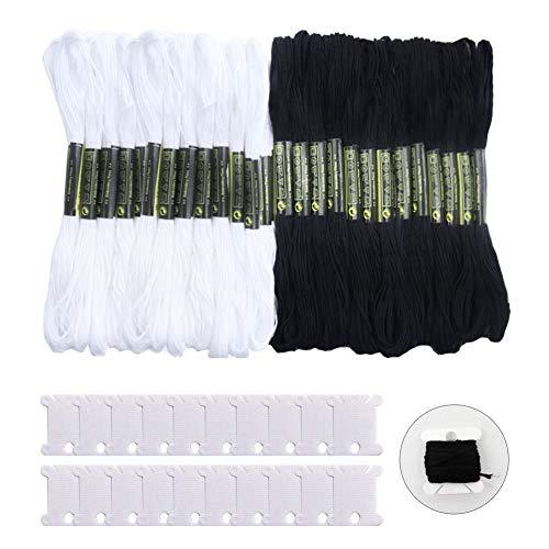 FOVERN1 24 Knäuel Kreuzstichgarn, schwarz-weiße Baumwolle, Sticktwist zum Basteln, mit 20 Stück Garnspulen zum Stricken und Kreuzstichprojekten -