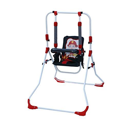 Clamaro 2 in 1 Babyschaukel \'SWING\' Indoor Baby Schaukel und Hochstuhl in einem, Sicherheitsgurt mit Bügel, gepolsterter Sitz, kompakt zusammenklappbar - Motiv: Feuerwehr