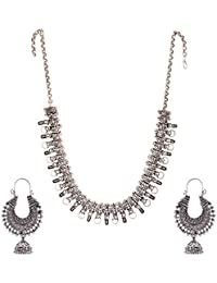 Ganapathy Gems Silver Metal Strand Necklace Set For Women (GPJC34)