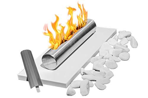Bio-Ethanol-Kamin Eco Tischplatte weiß Bio-Kamin Heizung Brenner Feuer Tisch Tragbare + Dekorative Steine + 1 Liter BIO-Kraftstoff (Grundset + dekorative Steine + Bio-Brennstoff)