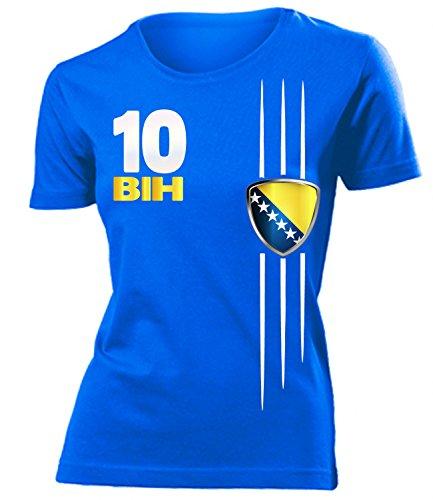 Bosnien Herzegowina 3320 Fussball Fanshirt Fan Shirt tshirt Fanartikel Artikel Frauen Damen T-Shirts Blau S