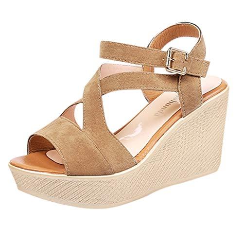 Sandalias de Vestir Plataforma tacón Alto de Playa para Mujer, QinMM Casual Zapatos de Baño Verano Fiesta Chanclas (39, Marrón)