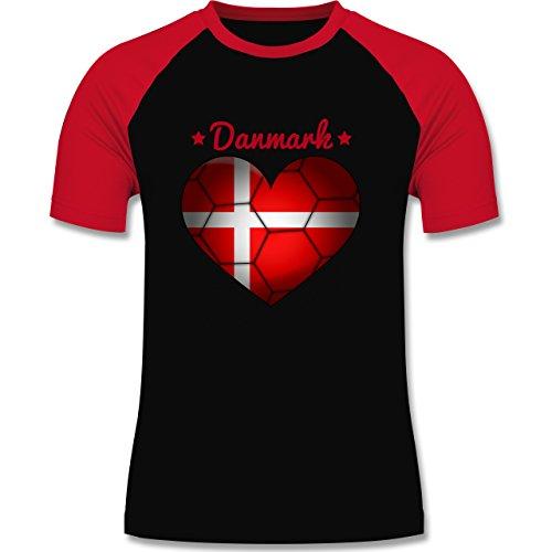 Handball - Handballherz Dänemark - zweifarbiges Baseballshirt für Männer Schwarz/Rot