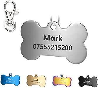 KSZ in Acciaio Inox Pet ID Etichette, Etichette e del Cane Gatto Etichette Personalizzato. Anteriore e Posteriore Engraving. Vari Colori (Argento, Osso)