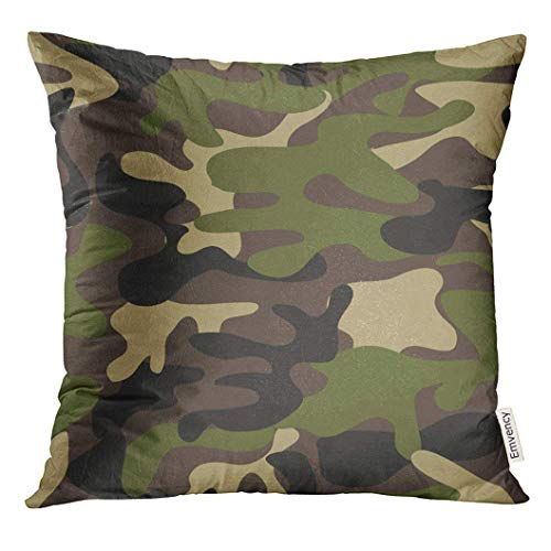 Camoflauge Fall (Throw Pillow Cover Beige Camoflauge Camouflage Pattern Military Woodland Style Classic Masking Camo Brown Army Camoflage Decorative Pillow Case Home Decor Square 18x18 Inches Pillowcase)