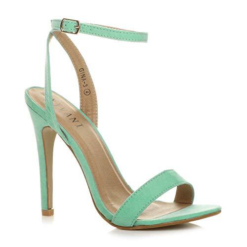 b65a4b3bb05 Sandalias para Mujer con Tobillo de Plataforma de tacón Alto para Mujer,  Color Verde,