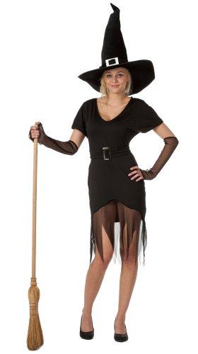 spass42 Damen Hexenkostüm Hexe Kurzarm Kleid und Hut und Arm-Stulpen Halloween Kostüm Mittelalter Gothic Groesse: ()