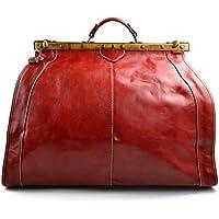 Bolso de viaje de cuero doctor bag bolso doctor en piel bolso hombre bolso mujer piel bolso de mano bolso de espalda bandolera de cuero rojo