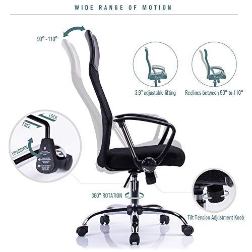 41ideN5%2BtQL - Poptoy - Silla de escritorio giratoria con respaldo alto con malla y altura ajustable para el hogar y la oficina
