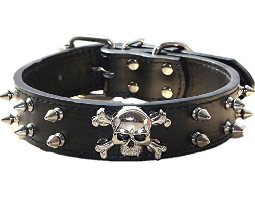 haoyueer Hundehalsband aus Leder mit Spikes - 2 Reihen Kugelnieten Nieten PU Leder - Cool Skull Pet Zubehör für mittelgroße und große Hunde