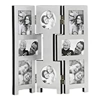 benerini 8 Picture Silver Folding Photo Picture Frame - Will Take 4 Photos Of 2.5 x 3 inches (6.5 x 7.5 cm), 2 Photos Of 3.5 x 2.5 inches (9 x 6.5 cm) & 2 Photos Of 3 x 3 inches (7.5 x 7.5 cm)