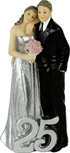 CH Trading Cake Aufsatz / Accessory / Cake Topper / Figure 25 Years Bride for Polyresin Cake - Silver Wedding - silberhochze itdeko - Wedding Cake