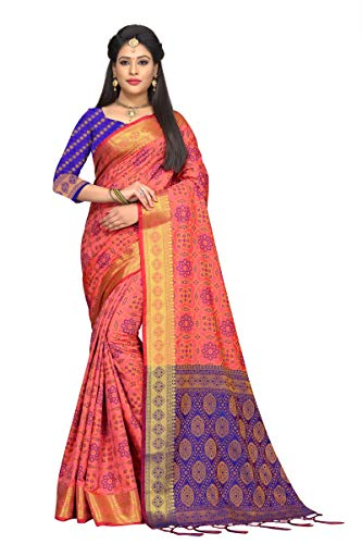 8da88b40fb Fabrica Fab Women s Pink And Blue Patola Silk Saree with Blouse Piece ...
