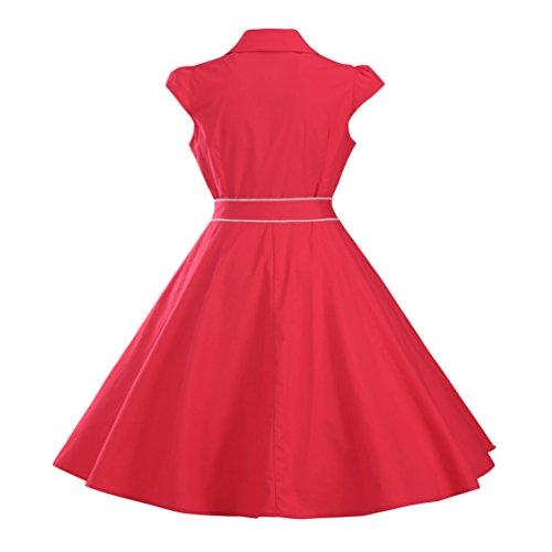 MILEEO Damen 50er Retro Herzform Knopf Rockabilly Kleid Kurzer Ärmel A-linie Kleider Rot