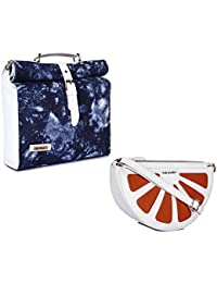 THE MAKER Combo Of Whiteand Blue Synthetic Leather Unisex Rolltop Bag With White And Orange Synthetic Leather...