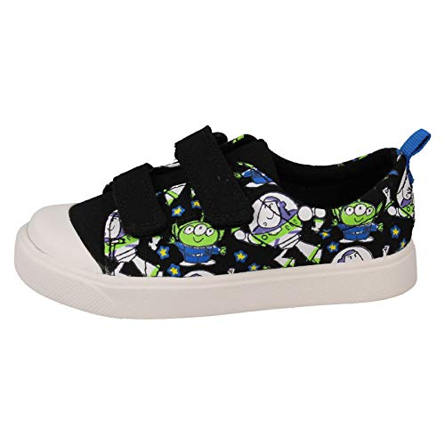 Clarks Boys Character Toy Story Print Canvas Shoes City Team - Black Textile - UK Size 4F - EU Size 20 - US Size 4.5M