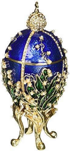 Matashi Schmuckkästchen mit Scharnierdeckel, handbemalt, mit 24 Karat Gold, Perlen und Kristallen von Peter Carl Fabergé inspiriert. - Perle Silber Beine