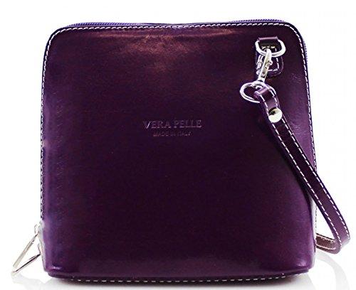 H&G Vera Pelle Trapezoid Shaped Mini Italian Real Leather Cross-Body Handbag (Purple) Purple