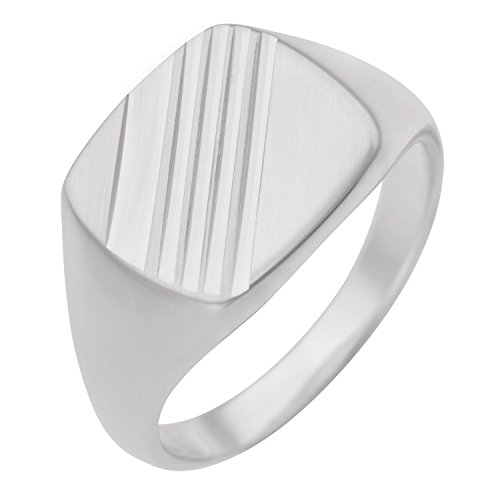 Schmuck-Pur 925/- Sterling-Silber Herren-Ring Siegelring diamantiert (Größe 20) (Sterling Silber Siegelring Männer)