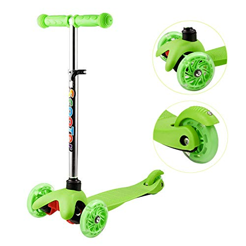 OUTCAMER Kinderroller Höhenverstellbar Scooter 3 Räder Roller Tretroller Kinder ab 2 Jahre mit LED Rollen