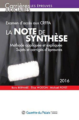 La Note de synthèse, 5ème Ed.