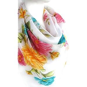 Weiß Helle Blüten Elegant Schal Weiche Baumwolle Große Quadratische Blumendruck Kopftücher Halstücher 96 x 96 cm.