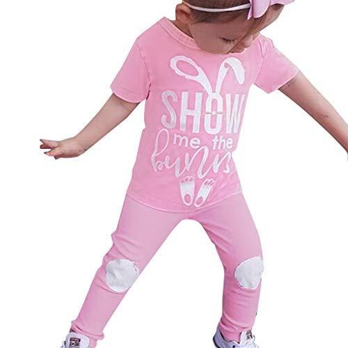 Kobay Babykleidung Mädchen Set Sommer Ostern Kinder Baby Mädchen Jungen Cartoon Brief Kaninchen Print T-Shirt Hose 2 STÜCK Outfits(3-4T,Pink) (Anzug 4t Jungen)