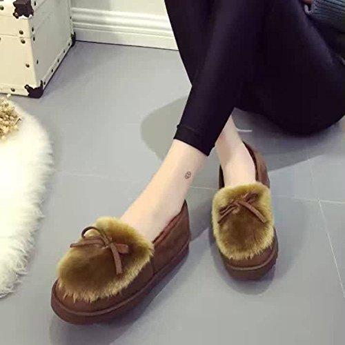 mhgao Mesdames Casual intérieur chaud en peluche coton pantoufles pantoufles coffee color
