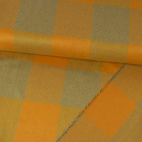 Tela de lana, diseño de cuadros, color amarillo y gris