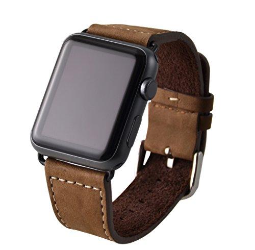Preisvergleich Produktbild VAPIAO Apple Watch 42mm Lederarmband für Series 1 / Series 2 / Series 3 in braun