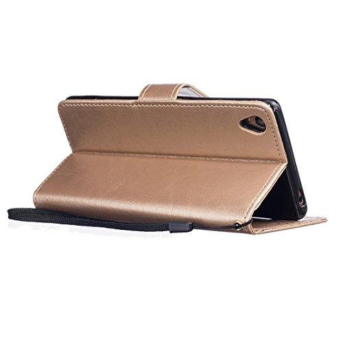 ANNN® Sony Xperia M2 Coque Embossing pissenlit PU Cuir Flip Housse Étui Cover Case Wallet Stand avec Carte de Crédit Fentes + Quill stylet + Pendentif poisson--A01 A05