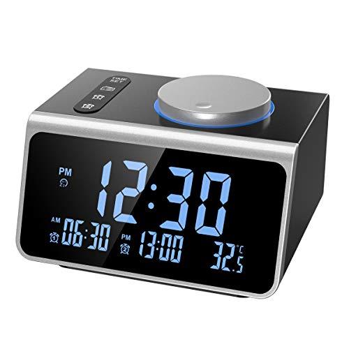 【2019 NEW】ORIA Digitaler Radio Wecker, FM Radiowecker Uhrenradio mit Dual Alarm, 2 USB-Ladeanschluss, 5-Stufige Helligkeit, Sleep-Timer & SchlummerFunktion und Temperatur, für Hause, Büro,etc