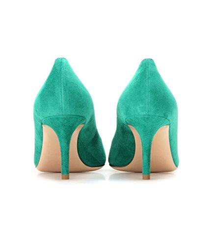 EDEFS 65mm Kitten Heels Klassische Damen Pumps Pointed Toe Kleid Brautschuhe Partei Büro Geschlossen Pumps Grün