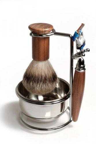 RAZZOOR 4-teiliges Rasierset Walnussholz für Gillette FUSION Rasierklingen - Halter mit Rasierschale, glanzverchromt + Rasierpinsel Dachshaar Silberspitz für die Nassrasur