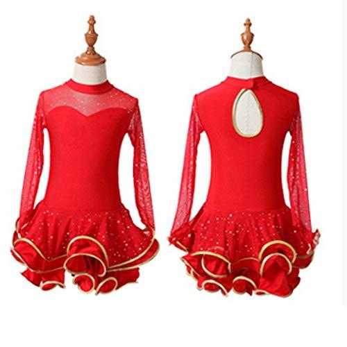 Tanz Kostüm Wear Performance - HUO FEI NIAO Tanz Kostüm-Latin Dance Kleid Mädchen Kostüme Latin Dance Praxis Kleidung Mädchen Long Sleeve Dance Wear Kinder Performance Wear (Farbe : Rot, größe : 150cm)
