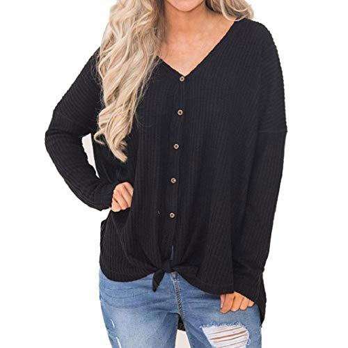 Subfamily Frauen Loose Strick Tunic Blouse Knot Henley -