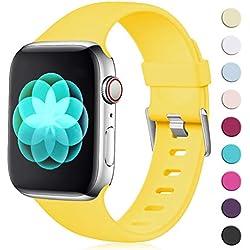 Maledan Compatible avec Apple Watch Bracelet 44mm 42mm, [Boucle Classique] Doux en TPU Réglables Remplacement pour Apple Watch Bracelet Series 4/3/2/1, S/M Jaune Mangue