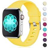 Maledan Compatible avec Apple Watch Bracelet 44mm 42mm, [Classique Boucle] Doux en TPU Réglables Remplacement pour Apple Watch Bracelet Series 5/4/3/2/1 S/M Jaune Mangue