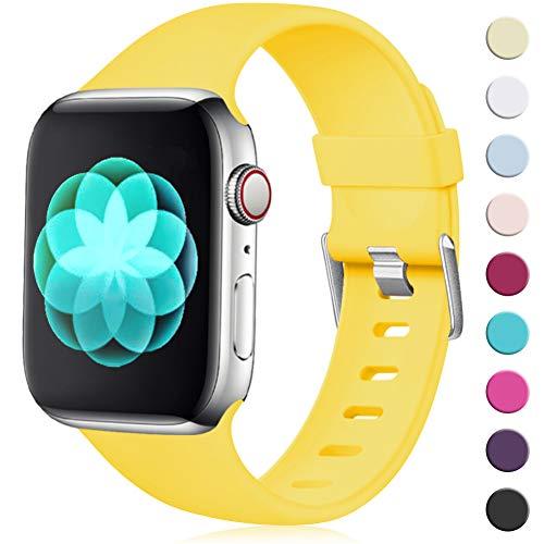 Maledan Compatible avec Apple Watch Bracelet 44mm 42mm, [Boucle Classique] Doux en TPU Réglables Remplacement pour Apple Watch Bracelet Series 4/3/2/1, M/L Jaune Mangue
