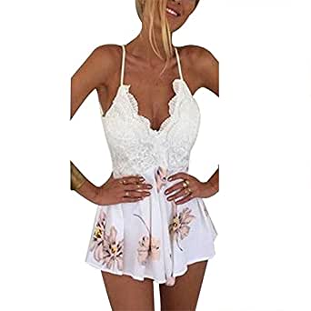 debd2cefaed Vandot Damen Kleid Lace Druck mit Sexy V-Ausschnitt Riemchen Jumpsuit Boho  Ärmellos Sommerkleid Strandkleid