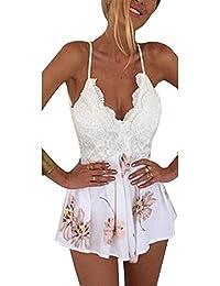 Damen Sexy High Waist Jumpsuit Kurz Overall V-Ausschnitt Rückenfrei Spitze Spleiß Jumpsuit Overall Kurz Hose Spitze Partei Spielanzug High Taille Lace Overall Sommerkleid Boho Ärmellos Strandkleid
