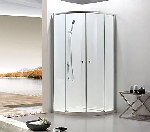 Paroi de douche arrondie avec portes coulissantes, verre trempé, verre de sécurité 6mm, transparente, profilés réglables sur 15 mm