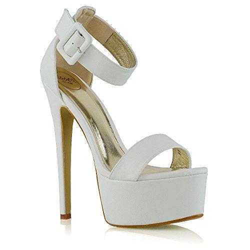 Essex glam donna tacco alto le signore cinturino alla caviglia bianco pelle sintetica piattaforma fibbia scarpe eu 40