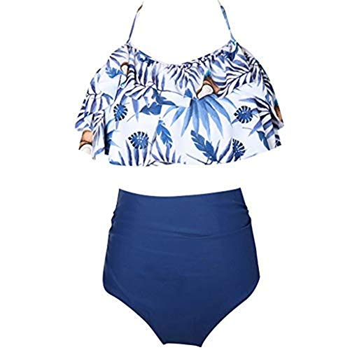 Storerine Mutter Tochter Bademode Split Badeanzug Eltern Kind Badeanzug Rüsche Neckholder hohe Taille Badeanzug Outfit Bikini Set 2 Stück