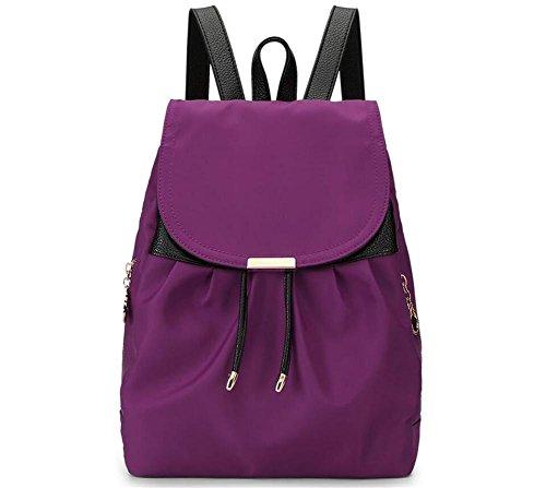 HQYSS Borse donna Donne in nylon leggero Collegio Vento casuale zaino borsa solido di colore regolabile impermeabile grande capacità Bookbags Tote Bag , black purple