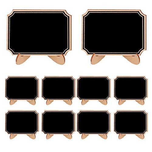 HNGPB 10 Stück Mini Kreidetafel Kleine Tafel mit Ständer, Nummernschilder, Karten-Etikettenschilder, rechteckig, Spitzen-Form Brett, Kinder-Party, Tisch, Küche, Geschäft, Home Office Fillet Shape -