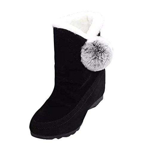 Stiefeletten Damen Winter Btruely High Heels Stiefel Damen Schuhe Mode Mädchen Dicke Stiefel Warme Martin Stiefel Slouchy Schuhe (39, Schwarz) (Slouchy-stiefel)